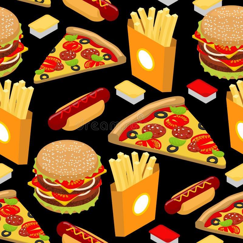 Πρότυπο γρήγορου φαγητού Χάμπουργκερ και τηγανιτές πατάτες στο μαύρο backgroun διανυσματική απεικόνιση