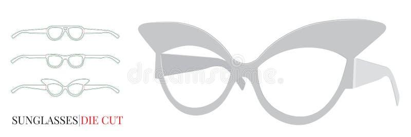 Πρότυπο γυαλιών εγγράφου, διάνυσμα με τα τεμαχισμένα/στρώματα περικοπών λέιζερ διανυσματική απεικόνιση