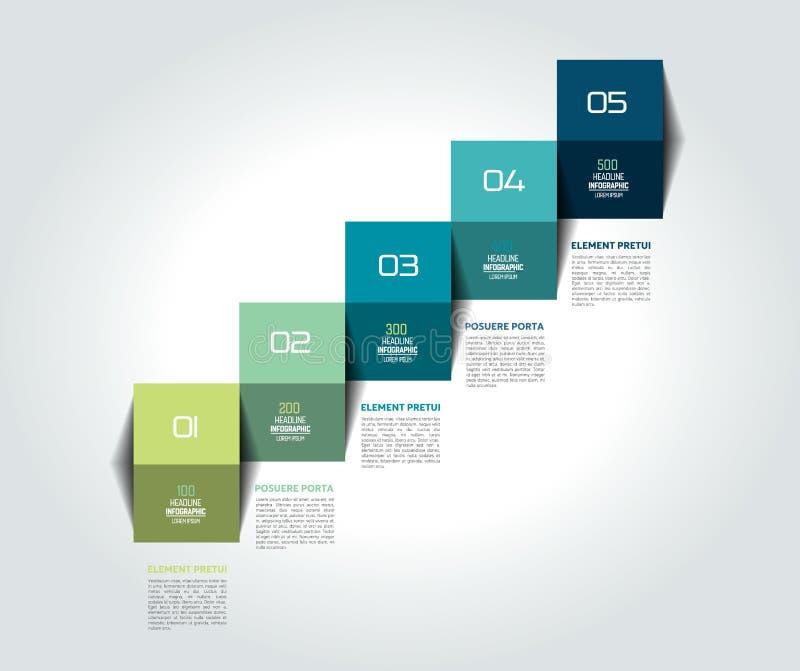 Πρότυπο, διάγραμμα, διάγραμμα, υπόδειξη ως προς το χρόνο, επιχειρησιακό διανυσματικό σχέδιο βημάτων σκαλών Infographic διανυσματική απεικόνιση