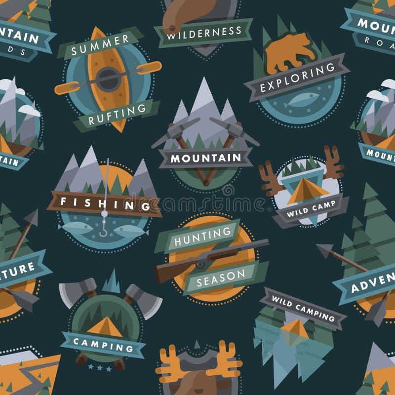 Πρότυπο διακριτικών ανιχνεύσεων λογότυπων ταξιδιού τουριστών στρατοπέδευσης το υπαίθριο συμβολίζει το διανυσματικό υπόβαθρο σχεδί απεικόνιση αποθεμάτων
