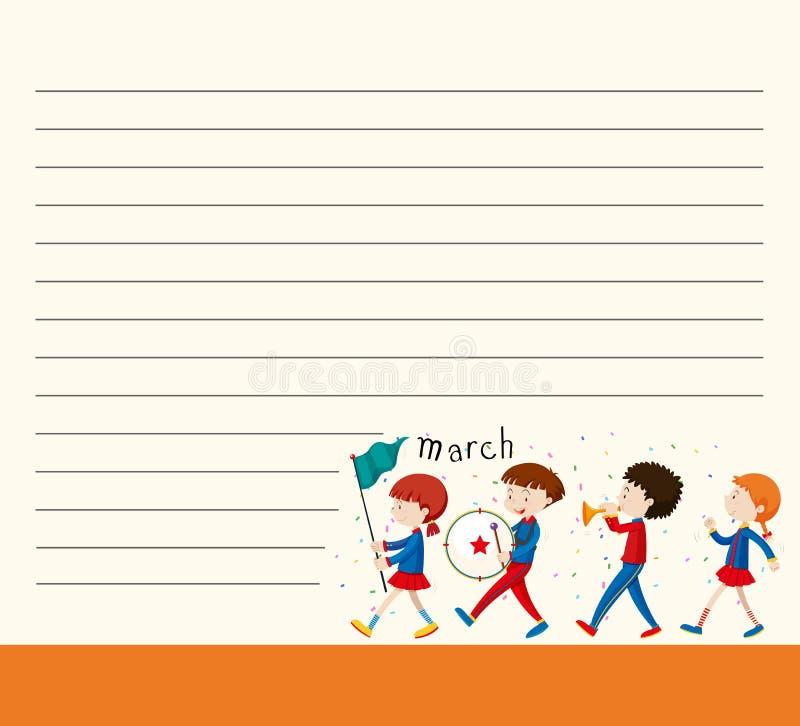 Πρότυπο εγγράφου γραμμών με τα παιδιά στη σχολική ζώνη απεικόνιση αποθεμάτων