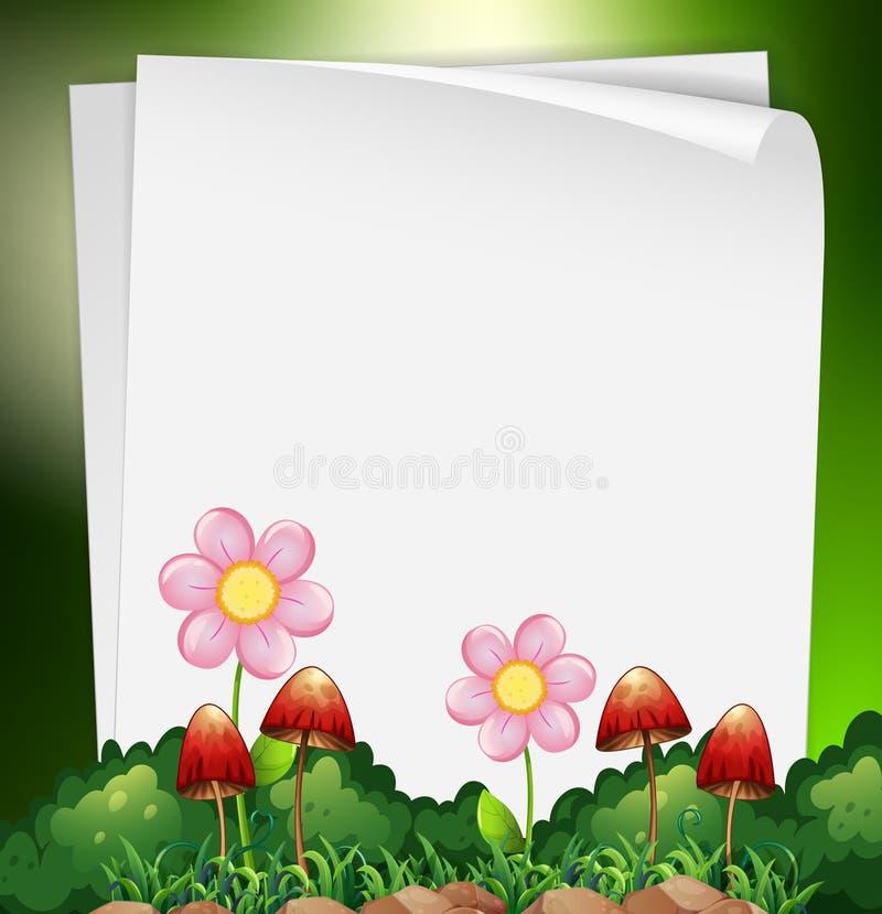 Πρότυπο εγγράφου με τα λουλούδια και μανιτάρι στο υπόβαθρο απεικόνιση αποθεμάτων