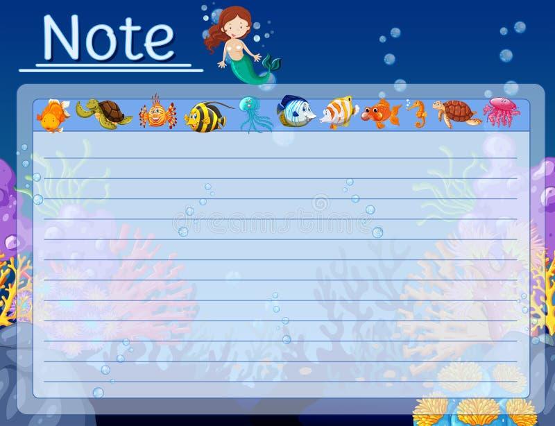 Πρότυπο εγγράφου με τα ψάρια και γοργόνα υποβρύχια διανυσματική απεικόνιση