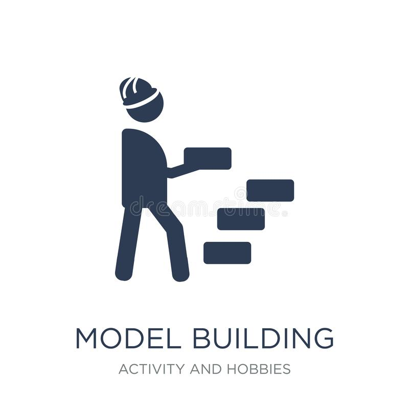 Πρότυπο εικονίδιο οικοδόμησης Καθιερώνον τη μόδα επίπεδο διανυσματικό πρότυπο εικονίδιο οικοδόμησης στο W ελεύθερη απεικόνιση δικαιώματος