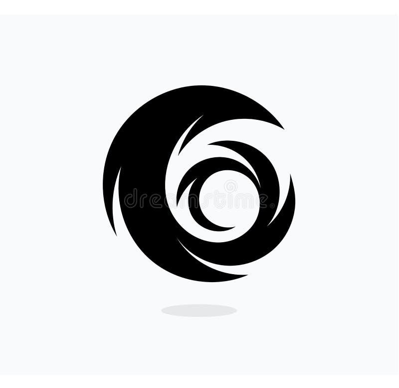 Πρότυπο εικονιδίων τυφώνα Διανυσματική απεικόνιση στροβίλου Αφηρημένο μαύρο εικονίδιο ουρών διανυσματική απεικόνιση