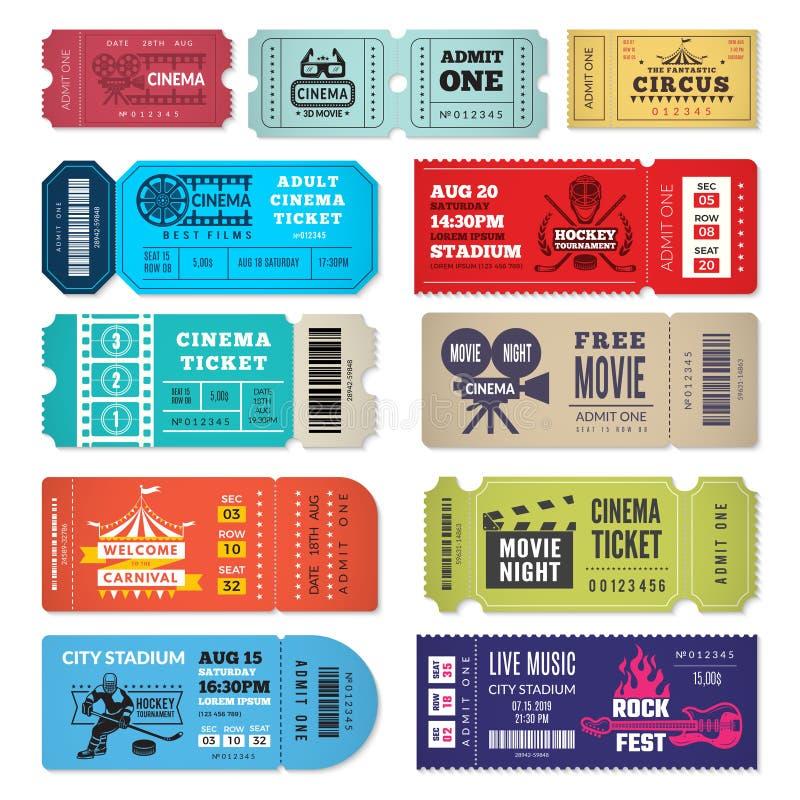 Πρότυπο εισιτηρίων Τα εισιτήρια εισόδων γεγονότων στο τσίρκο θεάτρων κινηματογράφων παρουσιάζουν στην αποδοχή συναυλίας διανυσματ ελεύθερη απεικόνιση δικαιώματος