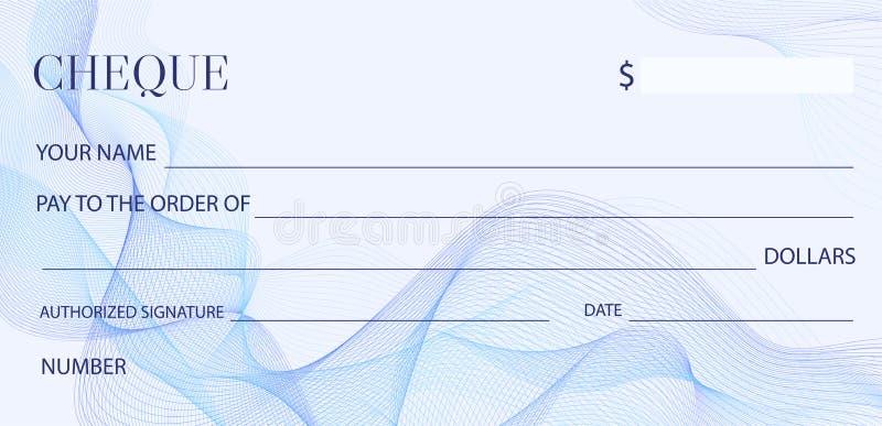 Πρότυπο ελέγχου επιταγών, πρότυπο Chequebook Κενή επιταγή τραπεζών με το σχέδιο αραβουργήματος και το επιχειρησιακό αφηρημένο υδα ελεύθερη απεικόνιση δικαιώματος