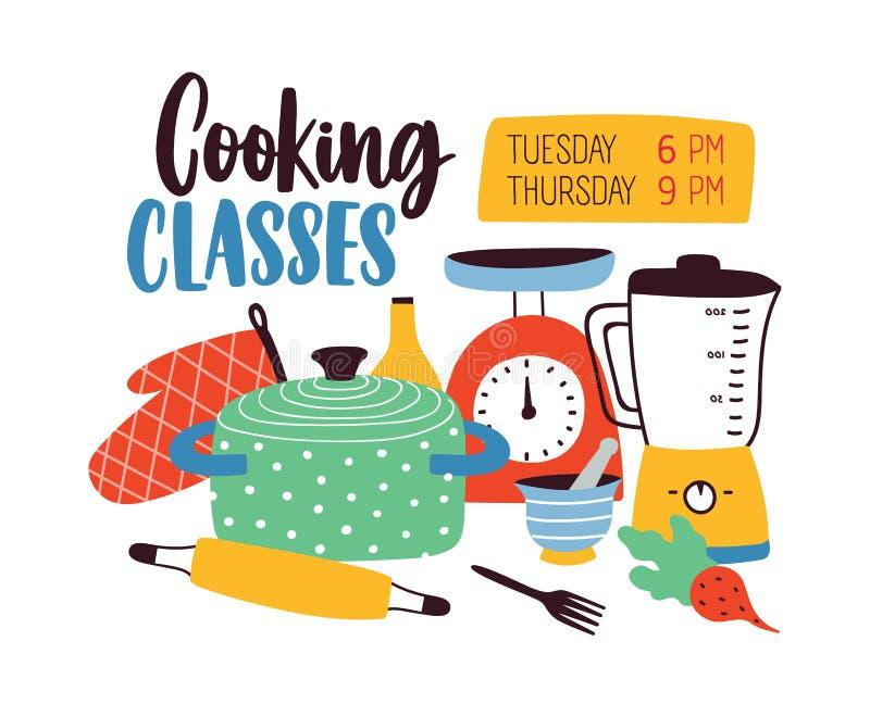 Πρότυπο εμβλημάτων με τα εργαλεία σκευών για την κουζίνα ή κουζινών για το μαγείρεμα ή την προετοιμασία τροφίμων Χρωματισμένη δια ελεύθερη απεικόνιση δικαιώματος