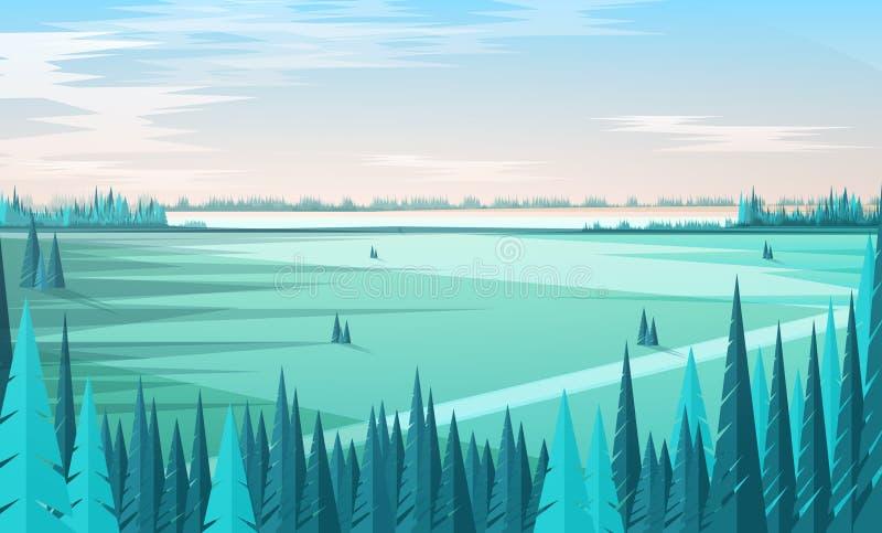 Πρότυπο εμβλημάτων με το φυσικό τοπίο ή τοπίο, πράσινα κωνοφόρα δασικά δέντρα στο πρώτο πλάνο, μεγάλος τομέας, ορίζοντας διανυσματική απεικόνιση