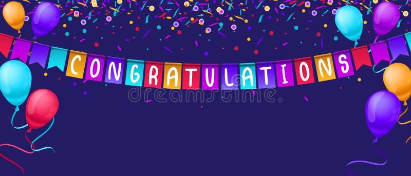 Πρότυπο εμβλημάτων συγχαρητηρίων με τα μπαλόνια και κομφετί που απομονώνεται στο μπλε υπόβαθρο Εορταστικό πρότυπο ευχετήριων καρτ ελεύθερη απεικόνιση δικαιώματος