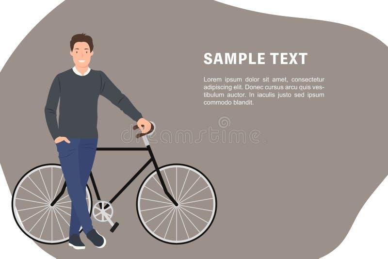 Πρότυπο εμβλημάτων σχεδίου χαρακτήρα ανθρώπων κινούμενων σχεδίων μια τοποθέτηση νεαρών άνδρων δίπλα στο ποδήλατό του ελεύθερη απεικόνιση δικαιώματος