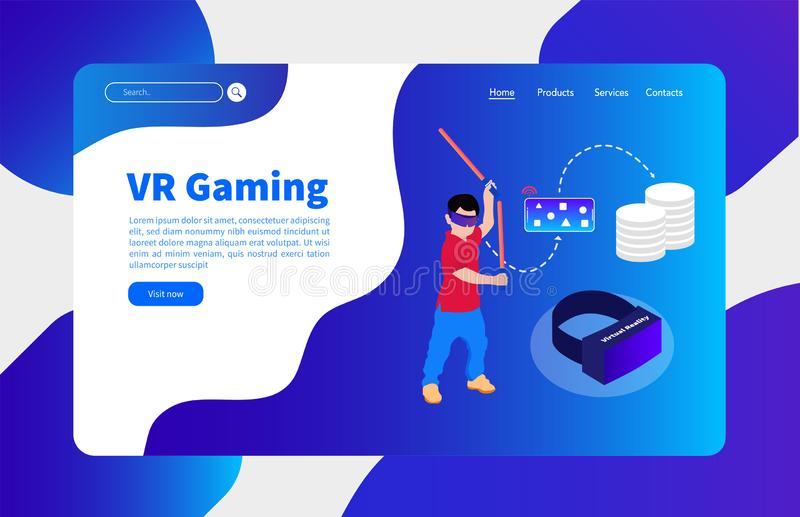 Πρότυπο εμβλημάτων τυχερού παιχνιδιού εικονικής πραγματικότητας και σύννεφων ελεύθερη απεικόνιση δικαιώματος