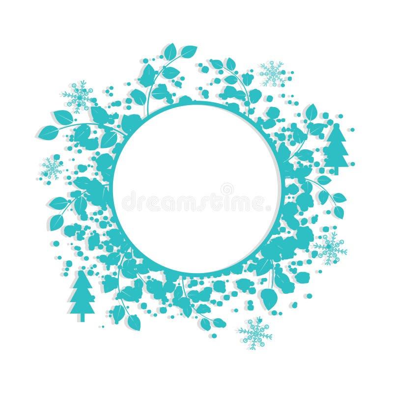 Πρότυπο εμβλημάτων χειμερινών κύκλων με το μπλε πλαίσιο για το κείμενο Snowflakes στοιχεία στο άσπρο υπόβαθρο επίσης corel σύρετε ελεύθερη απεικόνιση δικαιώματος