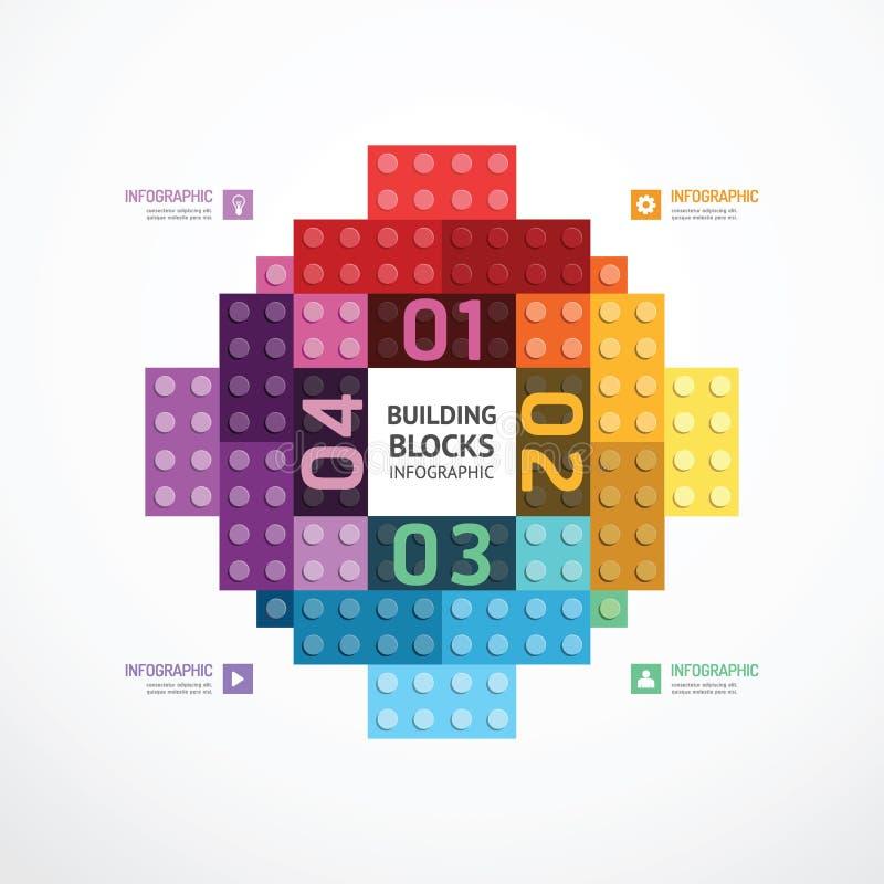 Πρότυπο εμβλημάτων δομικών μονάδων χρώματος Infographic vecto έννοιας απεικόνιση αποθεμάτων
