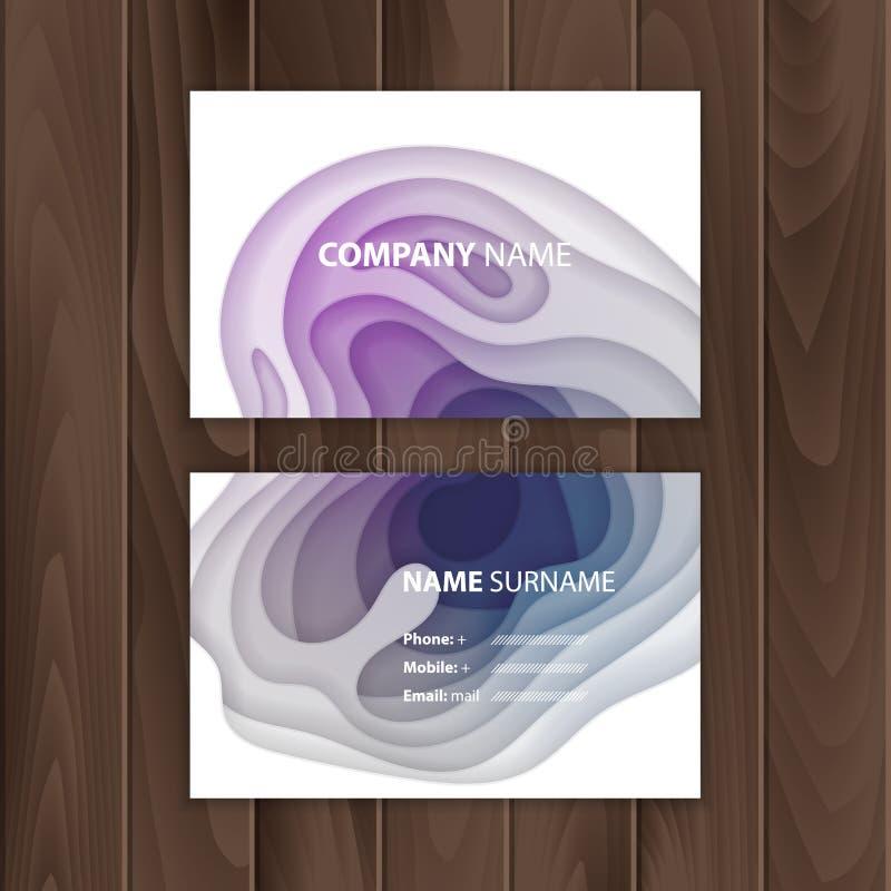 Πρότυπο επαγγελματικών καρτών με το ζωηρόχρωμο, αφηρημένο σχέδιο περικοπών εγγράφου, διανυσματική απεικόνιση διανυσματική απεικόνιση