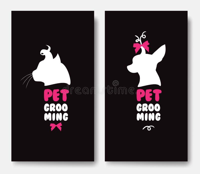 Πρότυπο επαγγελματικών καρτών με τις σκιαγραφίες της γάτας και ενός σκυλιού στο blac ελεύθερη απεικόνιση δικαιώματος