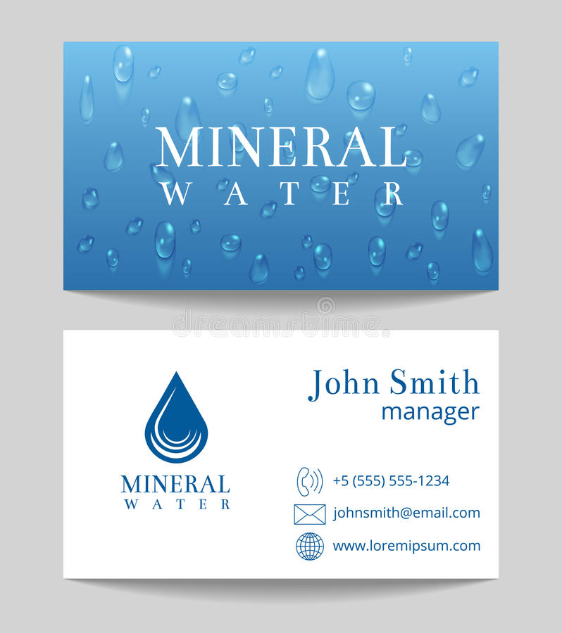 Πρότυπο επαγγελματικών καρτών παράδοσης μεταλλικού νερού απεικόνιση αποθεμάτων