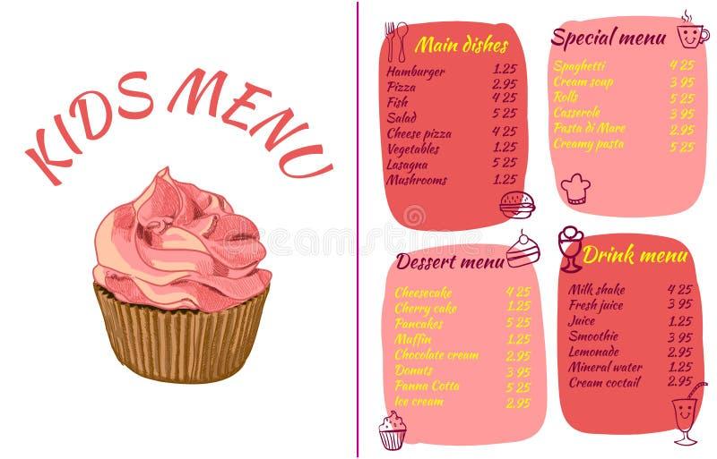 Πρότυπο ΕΠΙΛΟΓΩΝ ΠΑΙΔΙΏΝ, ζωηρόχρωμη ΔΙΑΝΥΣΜΑΤΙΚΗ απεικόνιση με το χέρι που σύρεται cupcake και doodle τρόφιμα ελεύθερη απεικόνιση δικαιώματος