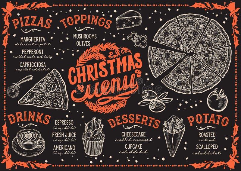 Πρότυπο επιλογών Χριστουγέννων για το εστιατόριο πιτσών στον πίνακα απεικόνιση αποθεμάτων