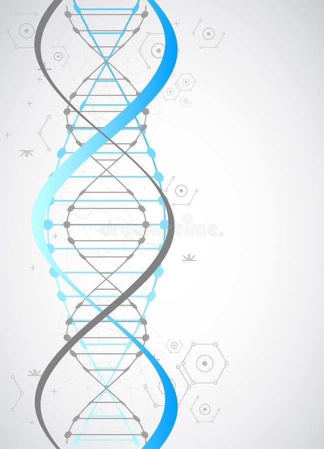 Πρότυπο επιστήμης, μπλε ταπετσαρία ή έμβλημα με τα μόρια ενός DNA απεικόνιση αποθεμάτων