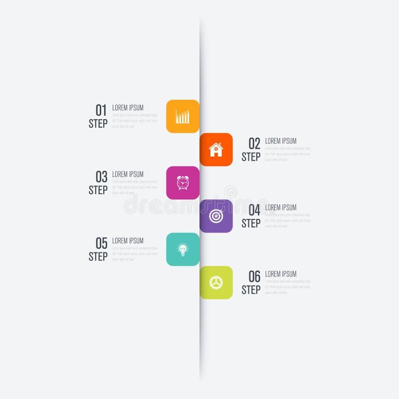 Πρότυπο 6 επιχειρησιακού infographics βήματα με το τετράγωνο απεικόνιση αποθεμάτων