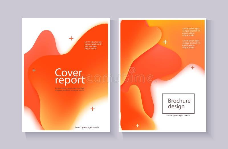 Πρότυπο επιχειρησιακών αφισών με τις κόκκινες και πορτοκαλιές μορφές πτώσης κλίσης υγρές απεικόνιση αποθεμάτων