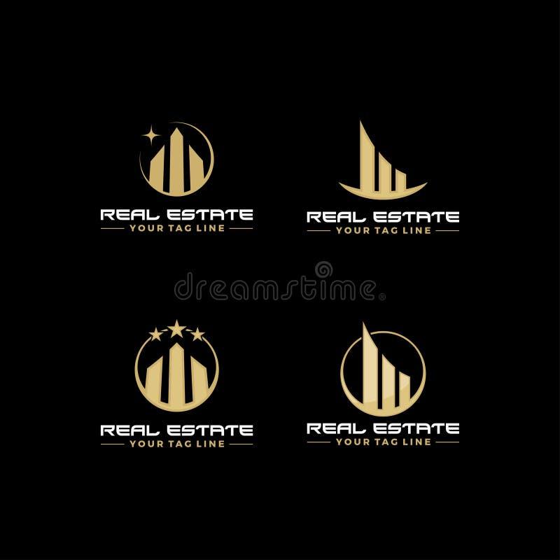 Πρότυπο επιχειρησιακών λογότυπων ακίνητων περιουσιών, κτίσιμο, ανάπτυξη ιδιοκτησίας, και διανυσματικό σχέδιο Eps 10 λογότυπων οικ διανυσματική απεικόνιση