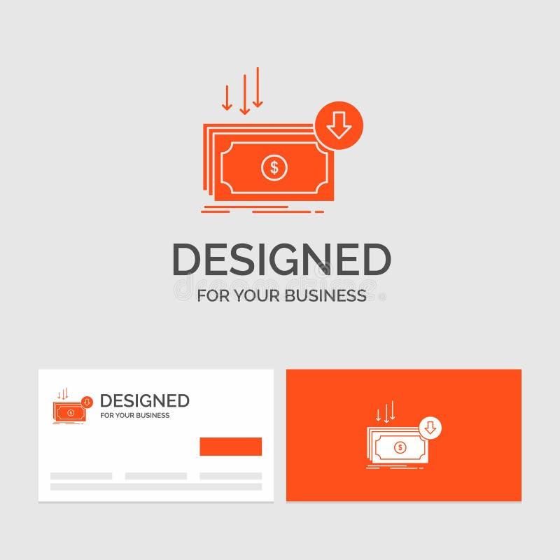 Πρότυπο επιχειρησιακών λογότυπων για την επιχείρηση, κόστος, περικοπή, δαπάνη, χρηματοδότηση, χρήματα Πορτοκαλιές κάρτες επίσκεψη διανυσματική απεικόνιση