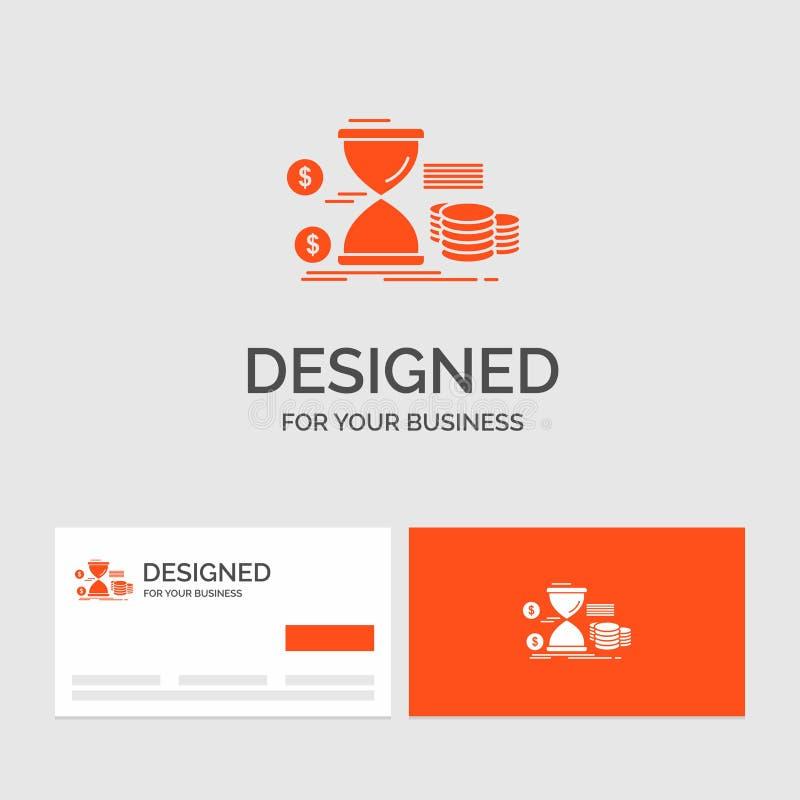 Πρότυπο επιχειρησιακών λογότυπων για την κλεψύδρα, διαχείριση, χρήματα, χρόνος, νομίσματα r διανυσματική απεικόνιση