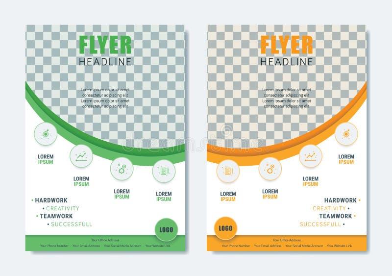 Πρότυπο επιχειρησιακών σύγχρονο φυλλάδιων Μινιμαλιστικό καθαρό σχεδιάγραμμα ιπτάμενων ελεύθερη απεικόνιση δικαιώματος