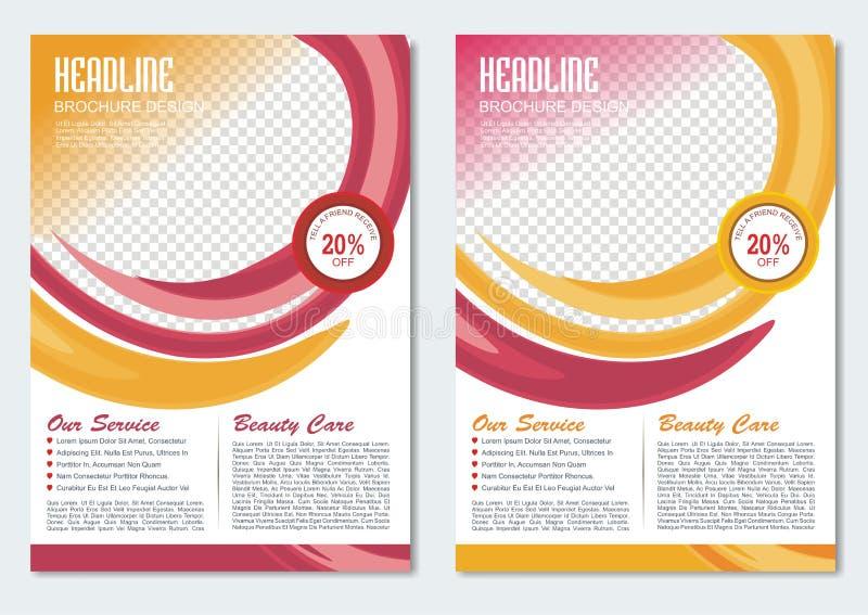 Πρότυπο επιχειρησιακών φυλλάδιων με το κόκκινο και κίτρινο σχέδιο χρώματος ελεύθερη απεικόνιση δικαιώματος