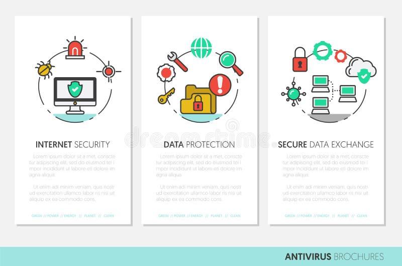 Πρότυπο επιχειρησιακών φυλλάδιων Γραμμικά λεπτά εικονίδια προστασίας δεδομένων ασφάλειας Διαδικτύου ελεύθερη απεικόνιση δικαιώματος