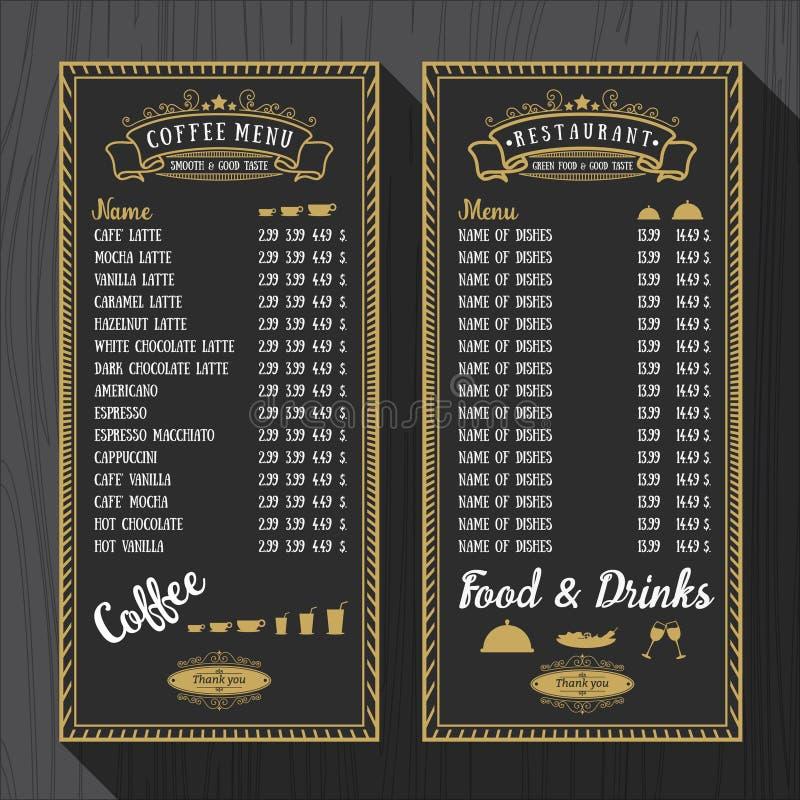 Πρότυπο επιλογών καφέ και επιλογών εστιατορίων διανυσματική απεικόνιση