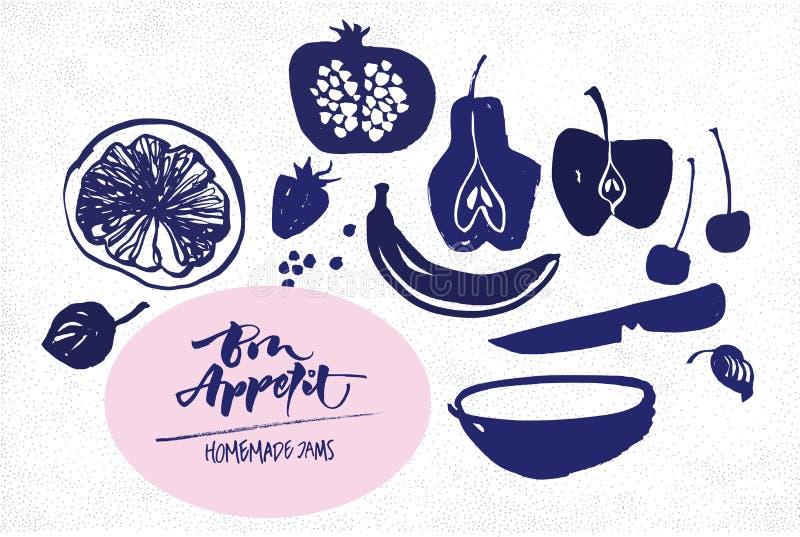 Πρότυπο ετικετών μαρμελάδας Σκιαγραφίες φρούτων διανυσματική απεικόνιση