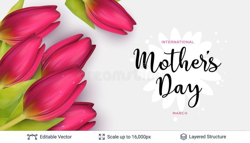 Πρότυπο ευχετήριων καρτών ημέρας μητέρων ` s διανυσματική απεικόνιση