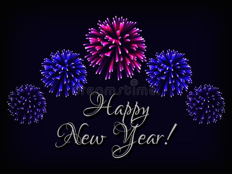 Πρότυπο ευχετήριων καρτών καλής χρονιάς με το κείμενο και φωτεινά ζωηρόχρωμα πυροτεχνήματα στο σκούρο μπλε υπόβαθρο ελεύθερη απεικόνιση δικαιώματος
