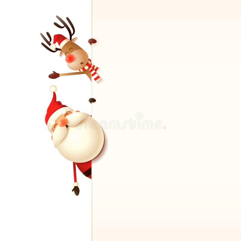 Πρότυπο ευχετήριων καρτών Χριστουγέννων Άγιος Βασίλης και τάρανδος που κρυφοκοιτάζουν πίσω από την πινακίδα στο διαφανές υπόβαθρο απεικόνιση αποθεμάτων