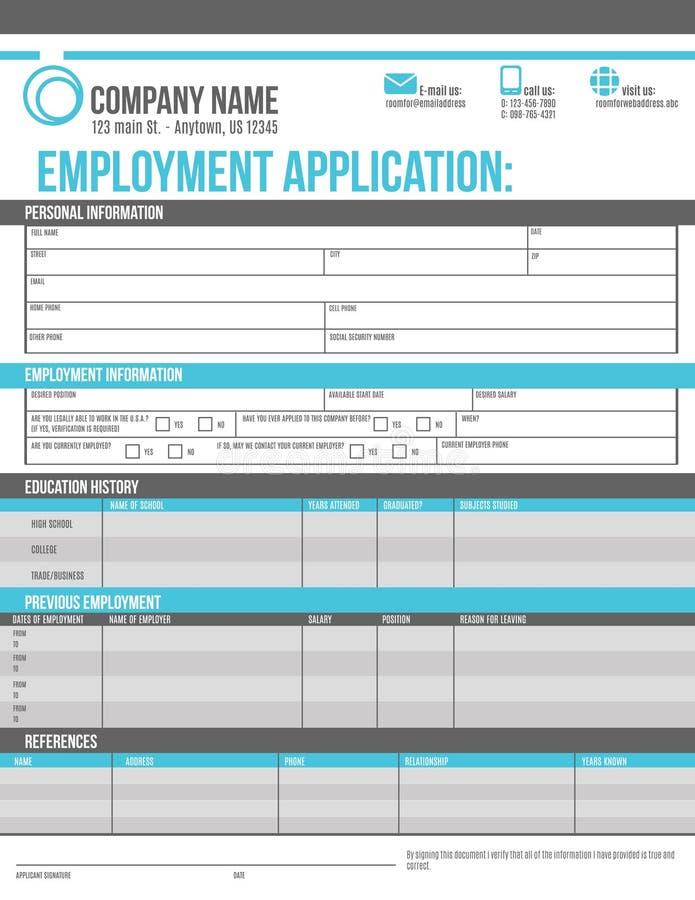 Πρότυπο εφαρμογής υπαλλήλων διανυσματική απεικόνιση