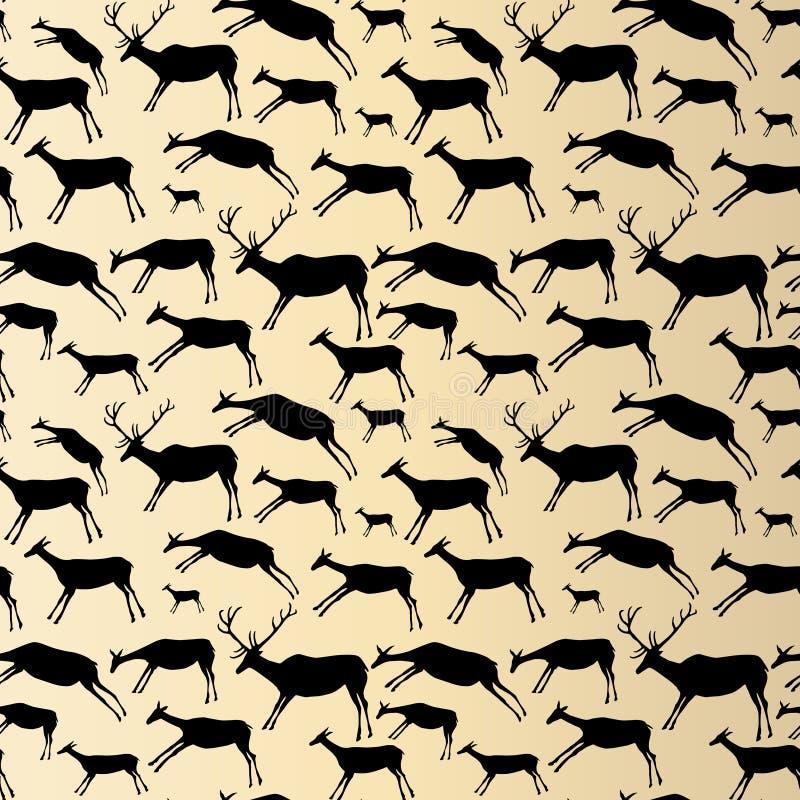 πρότυπο ζωγραφικής σπηλιών άνευ ραφής Ζώα με τη σύσταση watercolor ελεύθερη απεικόνιση δικαιώματος
