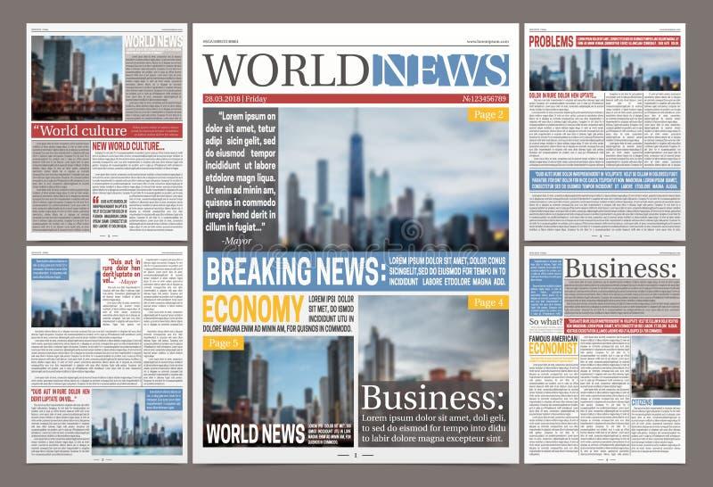 Πρότυπο ημερήσιων εφημερίδων ειδήσεων ελεύθερη απεικόνιση δικαιώματος