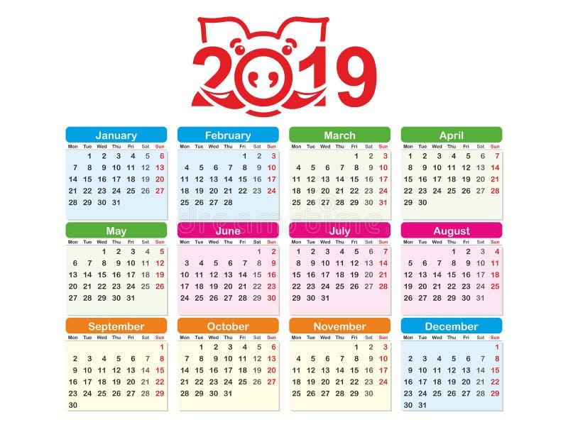 Πρότυπο ημερολογιακού οριζόντιο διανυσματικό σχεδίου έτους 2019, πολύχρωμο Ημερολόγιο για το έτος 2019 με το τυποποιημένο σύμβολο ελεύθερη απεικόνιση δικαιώματος