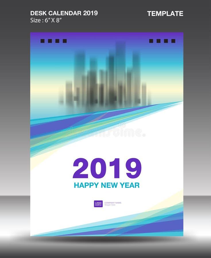 Πρότυπο ημερολογιακού 2019 σχεδίου γραφείων κάλυψης, πρότυπο ιπτάμενων, αγγελίες, βιβλιάριο, κατάλογος, ενημερωτικό δελτίο, σχεδι απεικόνιση αποθεμάτων
