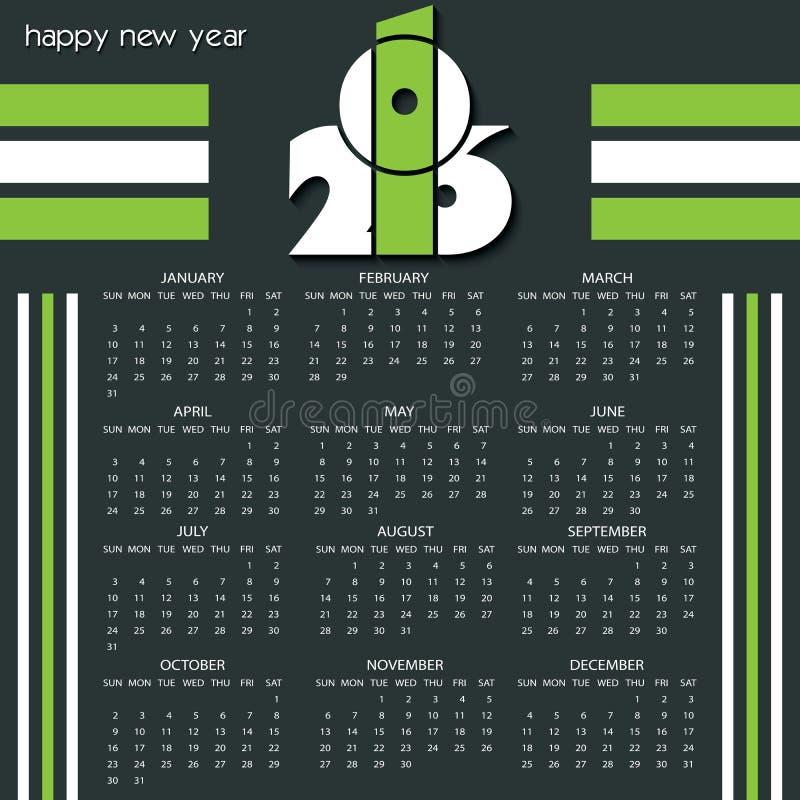 Πρότυπο ημερολογιακού 2016 σχεδίου με τα άσπρα και πράσινα χρώματα απεικόνιση αποθεμάτων