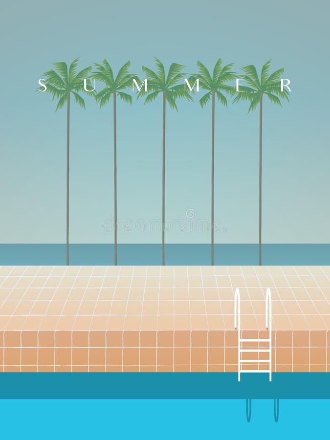 Πρότυπο θερινών αναδρομικό καλλιτεχνικό minimalistic διανυσματικό αφισών με τους φοίνικες, τη θάλασσα, την παραλία, την πισίνα κα διανυσματική απεικόνιση