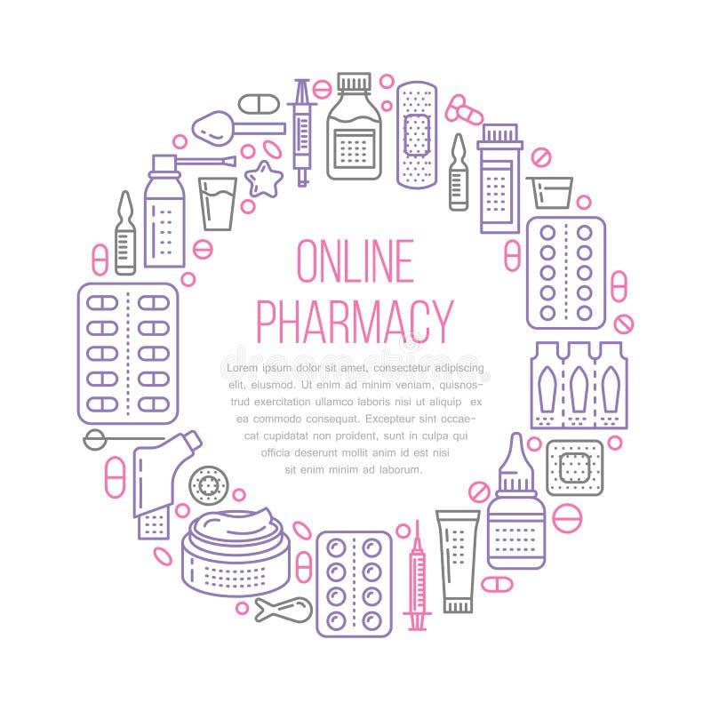 Πρότυπο ιατρικών, αφισών φαρμακείων Διανυσματικά εικονίδια γραμμών φαρμάκων, απεικόνιση των μορφών δόσης - ταμπλέτα, κάψες, χάπια διανυσματική απεικόνιση