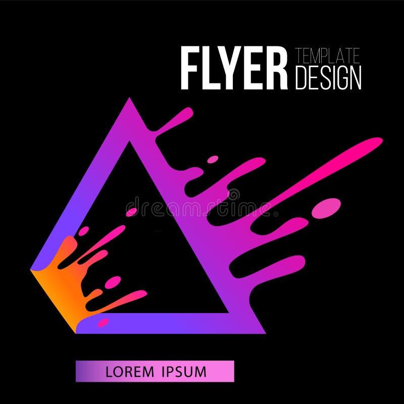 Πρότυπο ιπτάμενων με το υγρό πορφυρό ράντισμα πλαισίων τριγώνων στο επίπεδο ύφος κινήσεων ελεύθερη απεικόνιση δικαιώματος