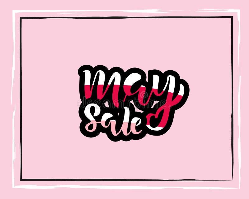 Πρότυπο ιπτάμενων πώλησης Μαΐου με τη χειρόγραφη εγγραφή Αφίσα, κάρτα, ετικέτα, σχέδιο εμβλημάτων Φωτεινό και μοντέρνο σκιαγραφημ απεικόνιση αποθεμάτων