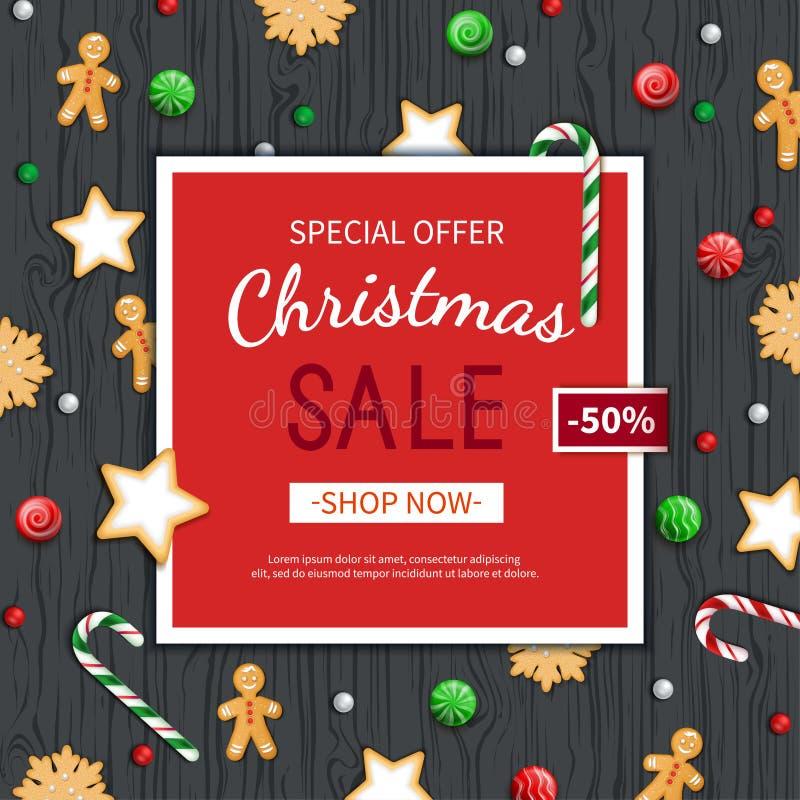 Πρότυπο ιπτάμενων πώλησης Χριστουγέννων Αφίσα, κάρτα, ετικέτα, υπόβαθρο, έμβλημα στο κόκκινο πλαίσιο με τα γλυκά σε έναν ξύλινο μ διανυσματική απεικόνιση