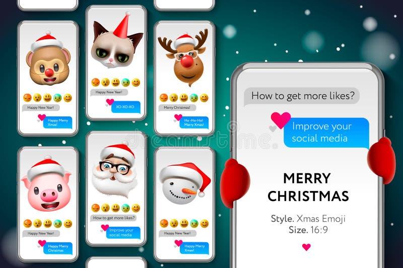 Πρότυπο ιστοριών Χαρούμενα Χριστούγεννας με Πρόσωπα smiley Emojis Χριστουγέννων, ροή, διανυσματική απεικόνιση ελεύθερη απεικόνιση δικαιώματος