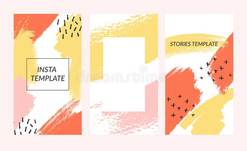 Πρότυπο ιστοριών Editable instagram για τα κοινωνικά μέσα Ύφος της Μέμφιδας απεικόνιση αποθεμάτων
